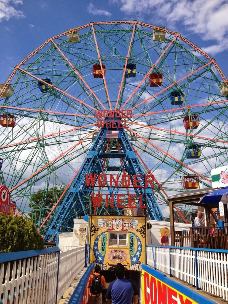The Wonder Wheel in Coney Island, a popular spot for visiting New York with a toddler