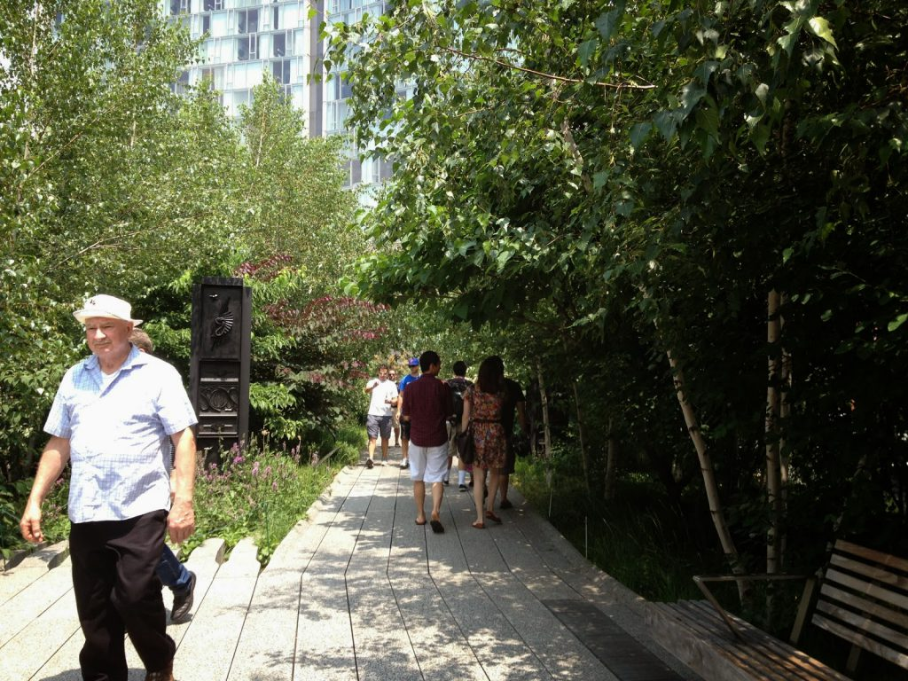 Walking through the High Line Park, where there are plenty of kid friendly activities in New York City