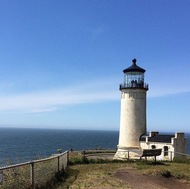 lighthouse at cape disappointment in washington state during long road trips