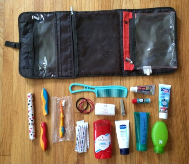 Toiletries for a weekend road trip with kids