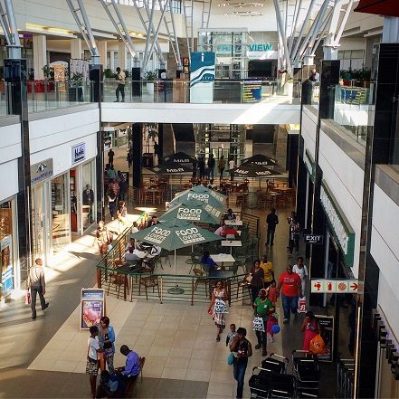 Shoppers at Levy Business Park in Lusaka, Zambia