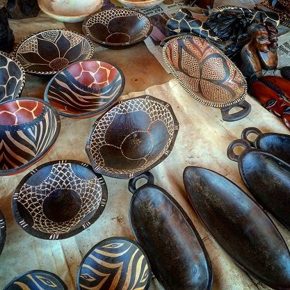Carved wooden bowls at Kabwata Cultural Village in Lusaka, Zambia in Africa