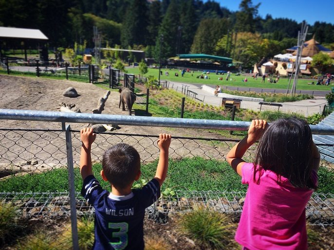 A boy and girl looking at an elephant exhibit at the Oregon Zoo, one of the top things to do in Portland