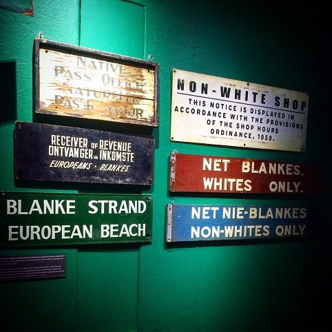 An exhibit at the Apartheid Museum in Johannesburg, South Africa, where families can learn about privilege in travel