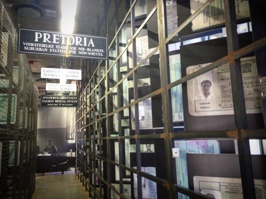 An exhibit at the Apartheid Museum during a visit of 48 hours in Johannesburg