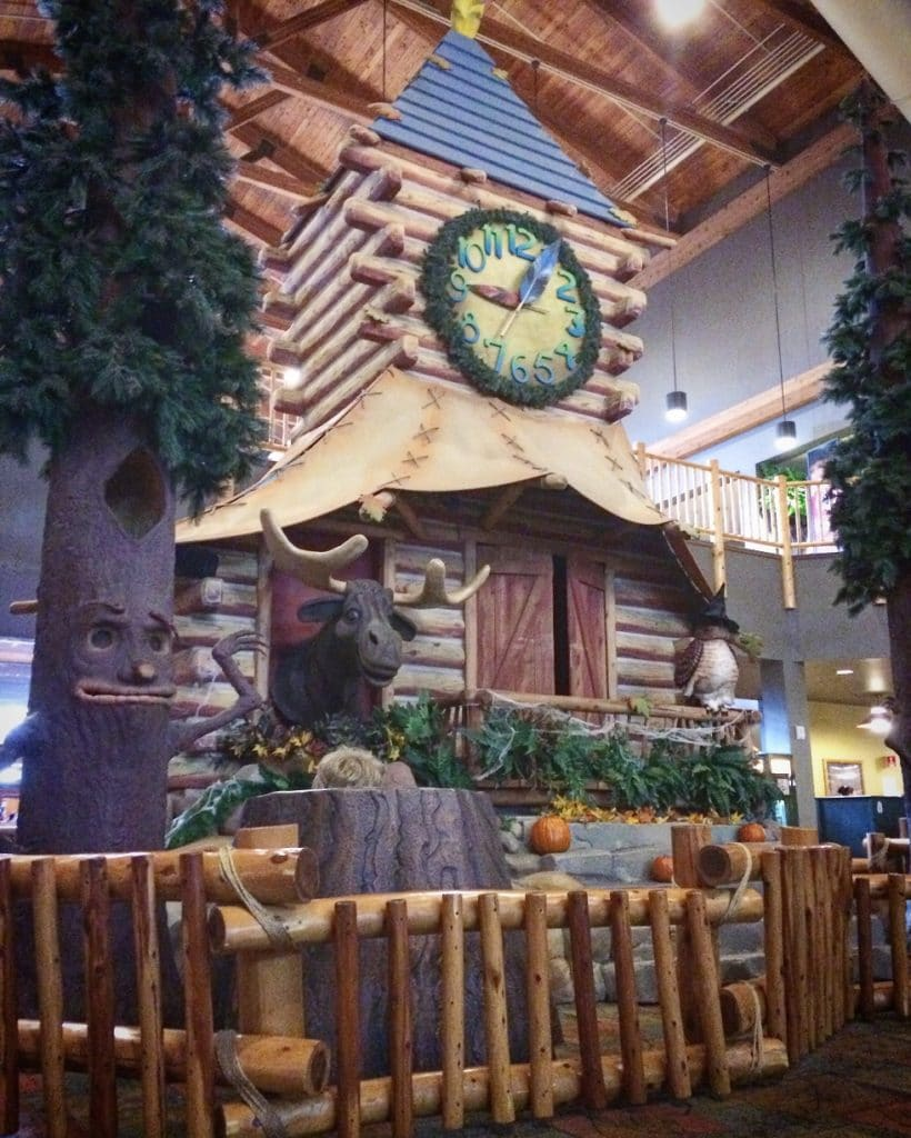 The Clock Tower at Great Wolf Lodge. This show is free to watch, and is a great way for families to save money at Great Wolf Lodge.