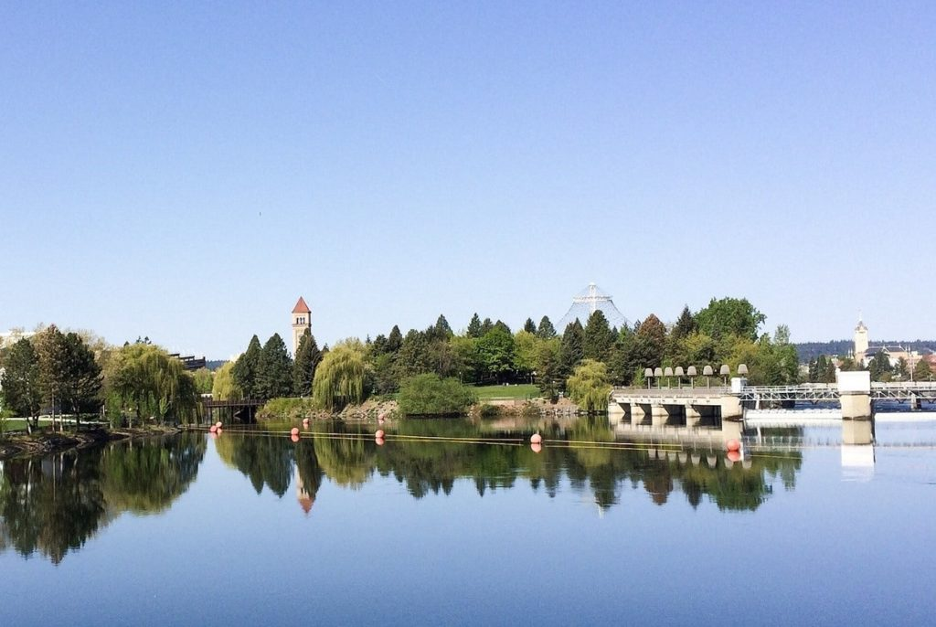 A view of Riverfront Park from the Spokane River, one of the many places with fun things to do in Spokane, WA