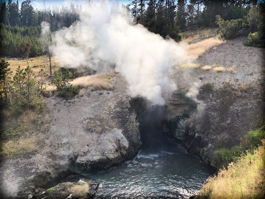 Dragon's Mouth Spring at Yellowstone National Park, a site to visit during a Yellowstone day trip