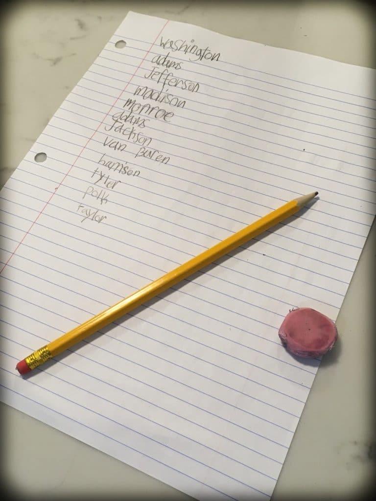 Spelling words for homeschool activities