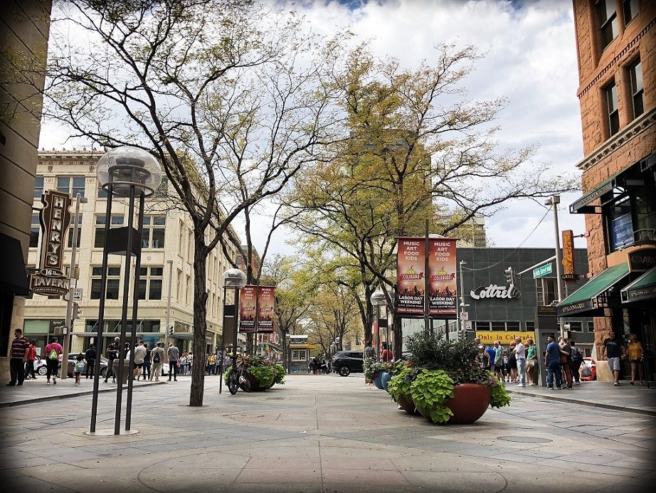 A view of a pedestrian walkway, with large potted plants and trees. Buildings line the walkway. The 16th Street Mall is one of the family friendly Denver experiences that are popular with locals.