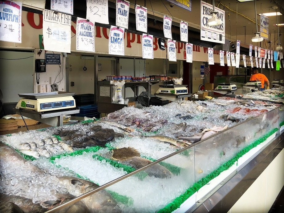 Fish on display on ice at the fish market at the DC Wharf, one of the things to do in DC with kids