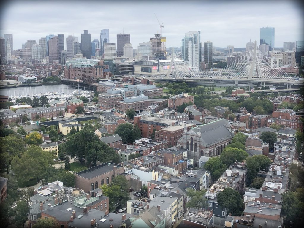 An aeriel view of Boston, MA, where families can enjoy walking the Freedom Trail with kids