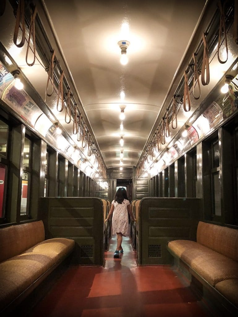 A train car at the New York Transit Museum, a family-friendly Brooklyn transit museum