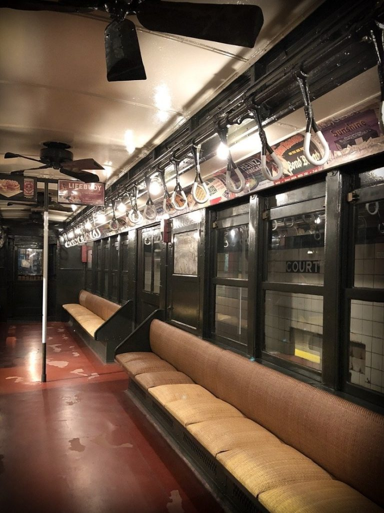 A vintage subway car at the New York Transit Museum, a family-friendly Brooklyn transit museum
