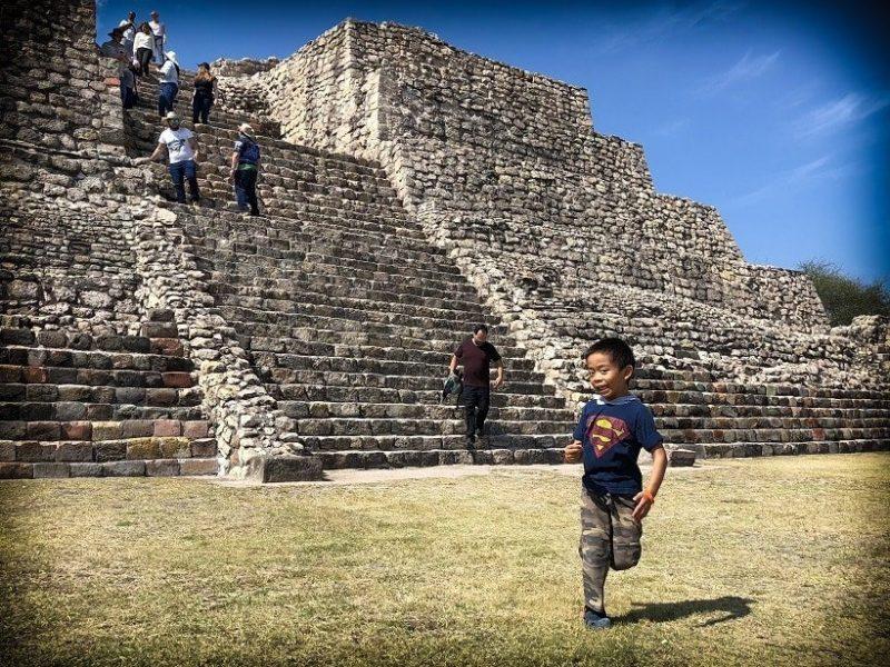 Julian running at pyramid in Mexico