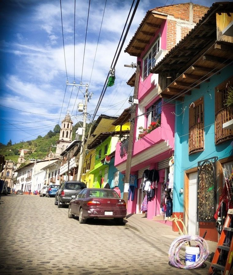 The town of Angangueo in Michoacan state, where travelers can stop and visit while driving in Mexico