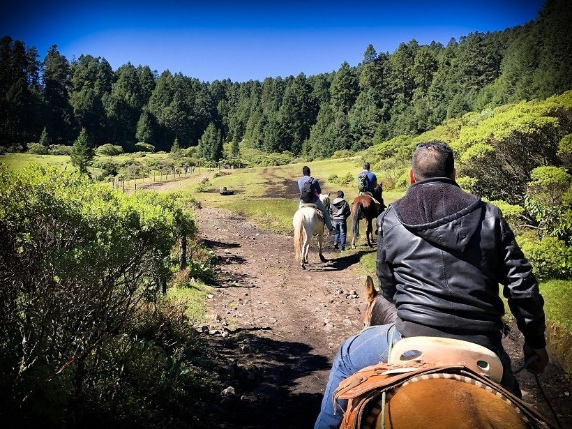 Horseback riders at the monarch butterfly sanctuary in Michoacan region of Mexico