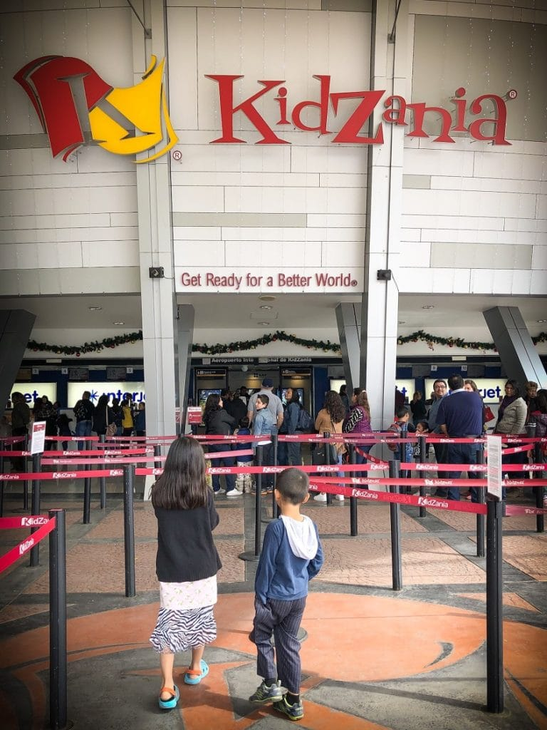 The waiting line for KidZania activities in Mexico City