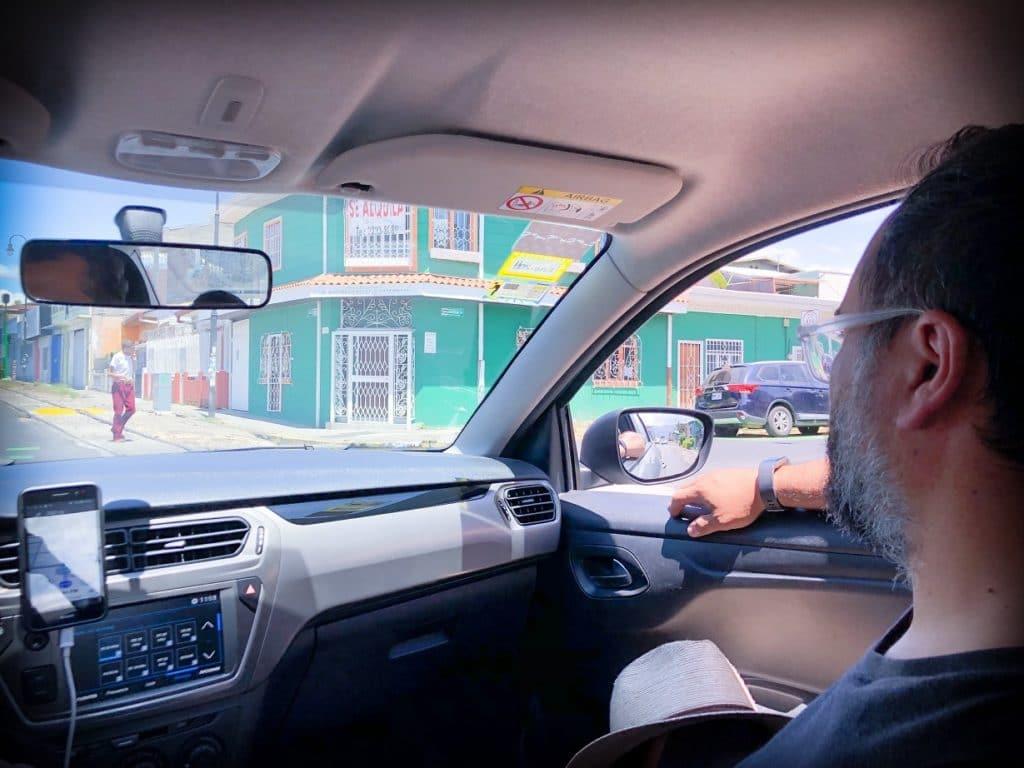 A rider using Uber overseas