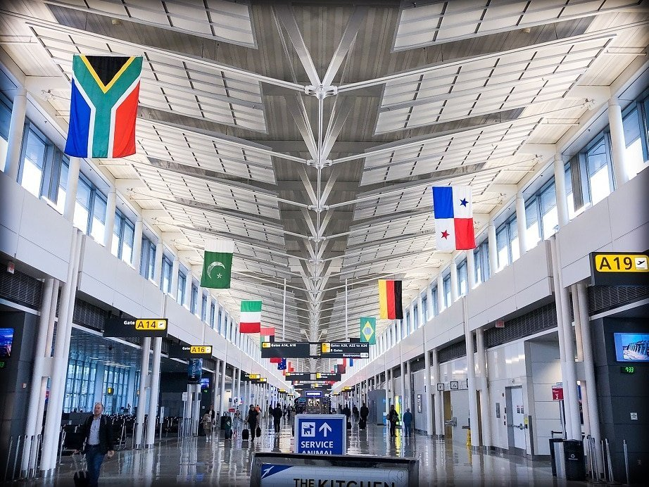 Dulles Airport, one of the transit stops for flying with a baby