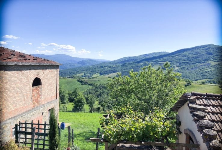View of the italian country side from a farm house Airbnb for families