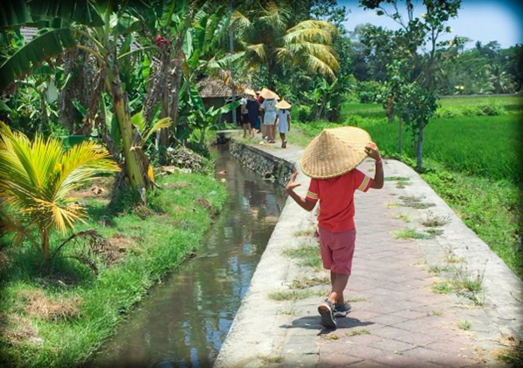 A boy with a farmer's hat walking by a rice paddy in Bali, Indonesia, dealing with jet lag in kids