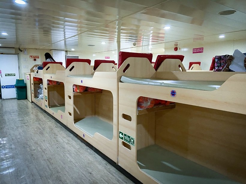 Private bunks on a ferry boat from Manila to Romblon Islands in the Philippines