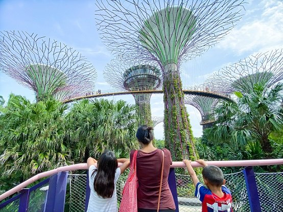 Family in Singapore at Gardens by the Bay, dealing with jet lag in kids