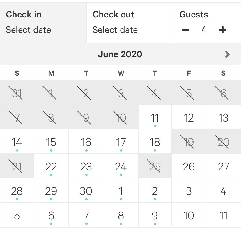 A calendar on the Hipcamp app showing dates of availability