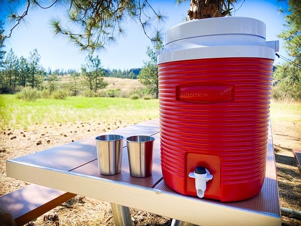 Water jug with filtered water, car camping essentials