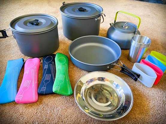 A compact mess kit car camping essentials for a family of four
