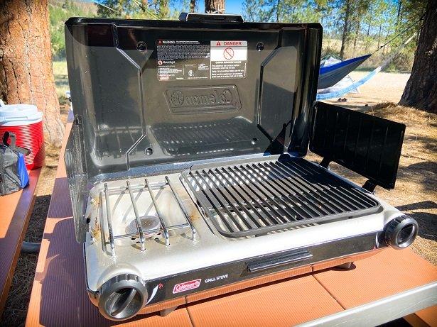 A Coleman camping cook stove, car camping essentials