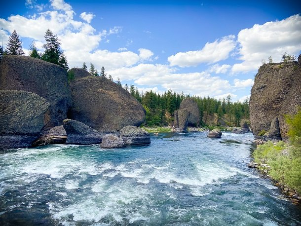 Boulders at Bowl and Pitcher at Riverside State Park, where visitors can enjoy hiking in Spokane