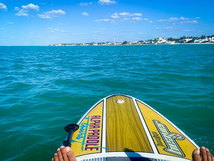 A paddleboard on the water, with oceanfront houses in the background, one of the many things to do in Progreso, Mexico.